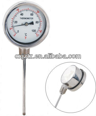 100mm Bottom All Stainless Steel Bimetal Thermometer