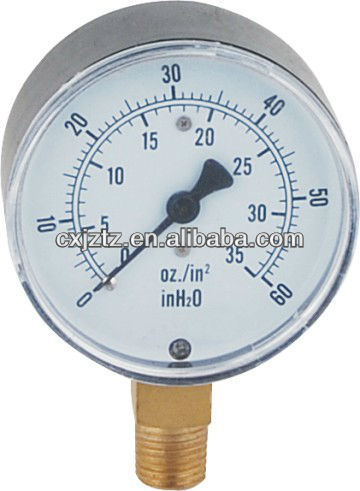 63mm Bottom Capsule Mbar Gas Pressure Gauge Brass Connection Black Steel Case