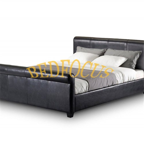 Top Quality Black Platform PU Leather Bed Bed-P-100